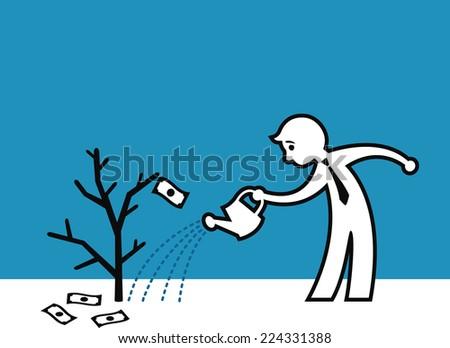 Man watering a dead money plant, Financial crisis metaphor - stock vector
