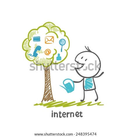 man watering a tree-Internet illustration - stock vector