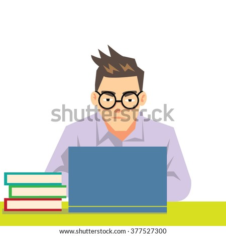 man wearing glasses, working at laptop computer-cartoon vector