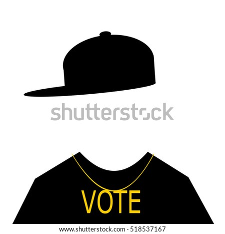 man wearing hip hop fashion with vote necklace