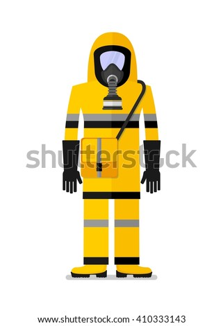 Man wearing in work clothes for chemical protection. Cartoon flat vector illustration. Objects isolated on a background.