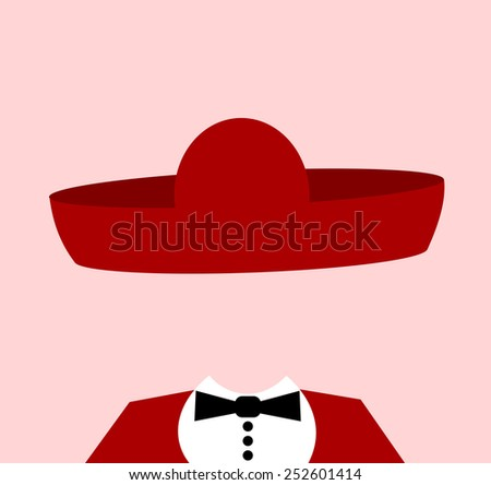 man wearing large mexican sombrero - stock vector