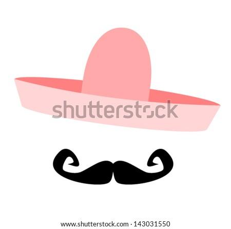 man wearing pink sombrero - stock vector