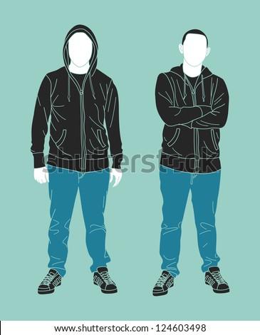 man wearing sweatshirt silhouette - stock vector