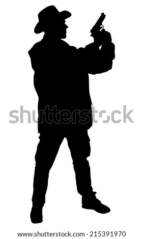 Man wearing vintage hat with gun, vector - stock vector