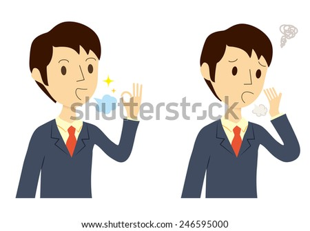 Man who were the bad breath care, before after  - stock vector