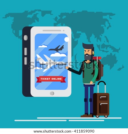 Man with a backpack for journey buys or booking plane tickets through an online application in his phone. Order tickets to travel.  Latest offerings - stock vector