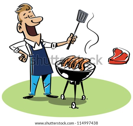 Man with a barbecue grill. The T-bone steak and sausages are on separate layers and can be switched. EPS8-file, fully editable and all labeled in layers. - stock vector