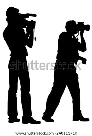 Man with a camera on white background - stock vector