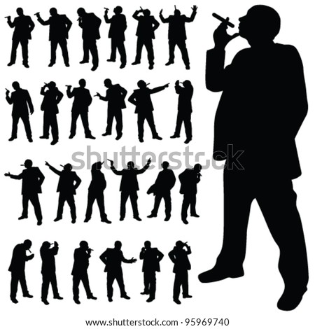 man with a cigarette in various poses black silhouette - stock vector