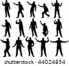 man with a gun silhouettes - stock vector