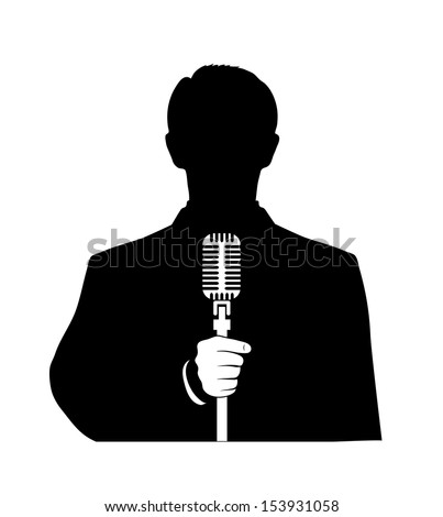man with a microphone in his hand on a white background - stock vector