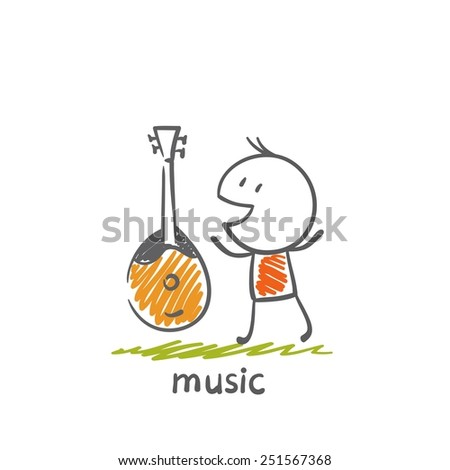 man with a musical instrument balalaika illustration - stock vector