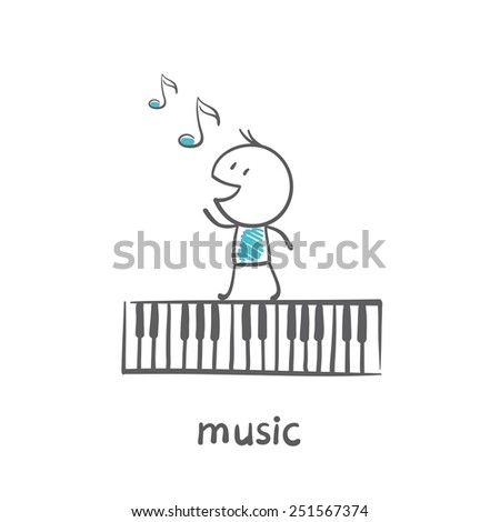 man with a musical instrument synthesizer illustration - stock vector