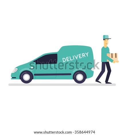 Man with a parcel near the vehicle, delivery of goods on a white background. Flat design vector illustration. - stock vector