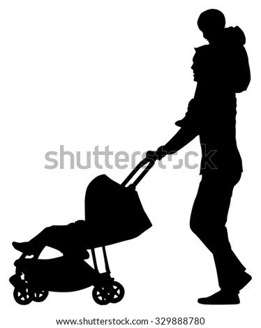 Man with a pram with baby on his neck on white background