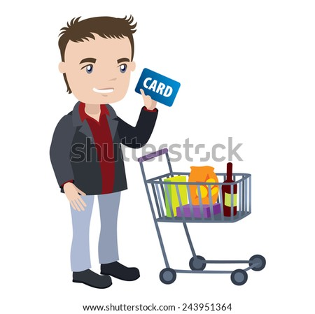 man with a shopping cart and credit card - businessman cartoon character series of drawings