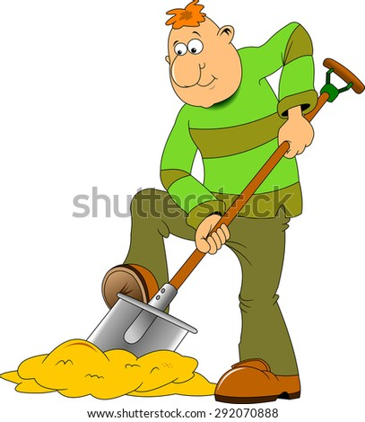 man with a shovel and a pick on a white background - stock vector