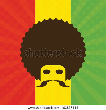man with afro and flag of Ethiopia in background (vector illustration) - stock vector