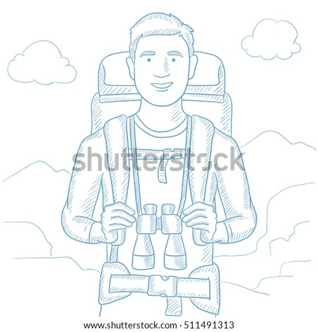Man with backpack and binoculars hiking in the mountains. Hiking caucasian man with backpack and binoculars. Hiker enjoying his summer trip. Hand drawn vector sketch illustration on white background.