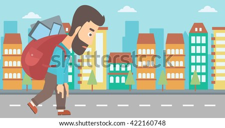 Man with backpack full of devices. - stock vector