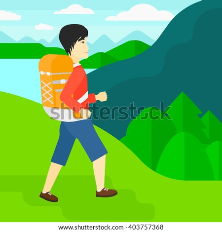 Man with backpack hiking. - stock vector