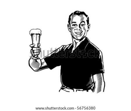 Man With Beer - Retro Clip Art - stock vector