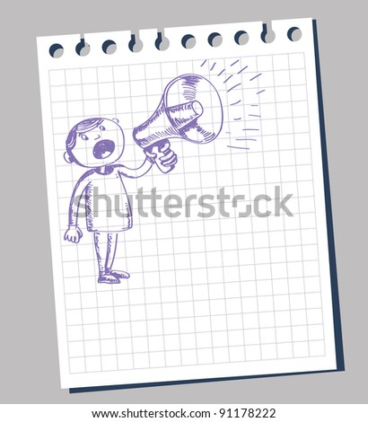 man with big announcement with megaphone - stock vector
