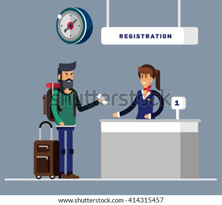 Man with big suitcase and travel backpack checking in at the airport with pretty airlines clerk. Registration and check tickets. Traveller. Flat style illustration or icon.