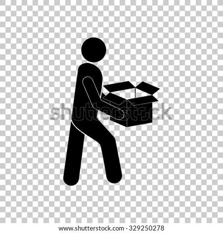 man with box vector icon - black illustration - stock vector