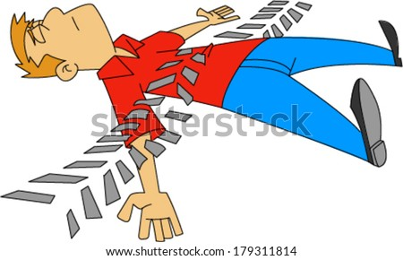Man with closed eyes laying on ground with tire tread marks across him  - stock vector