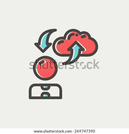 Man with cloud upload and download arrows icon thin line for web and mobile, modern minimalistic flat design. Vector icon with dark grey outline and offset colour on light grey background. - stock vector