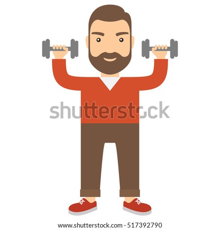 Man with dumbbells. Concept flat cartoon vector icon.