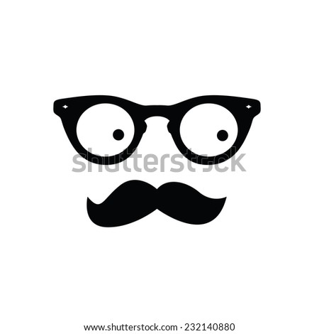 man with eye glasses and mustache vector illustration - stock vector