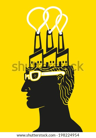 Man with factory building in head  - stock vector