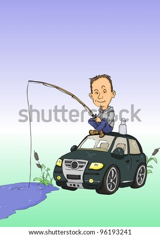 Man with fishing rods sitting on car roof - stock vector