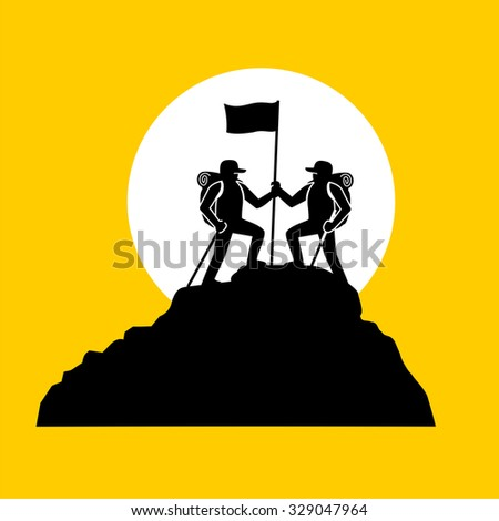 Man with flag standing on top of the mountain. - stock vector