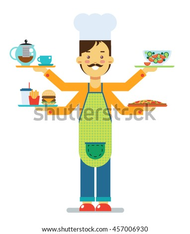 Man with food - stock vector