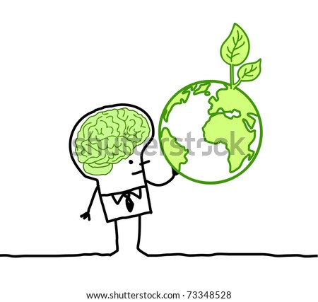 man with green brain & green earth - stock vector