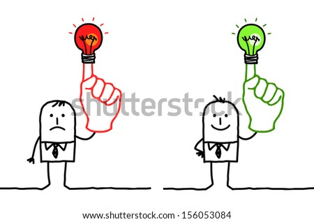man with green or red light on finger - stock vector