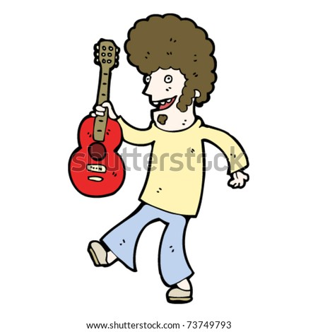 man with guitar and big hair cartoon