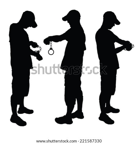man with handcuff black vector illustration on a white - stock vector