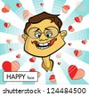 Man with happy face, in love, cartoon vector - stock vector