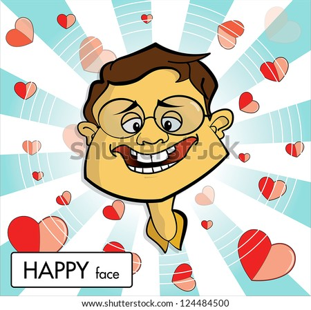 Man with happy face, in love, cartoon vector