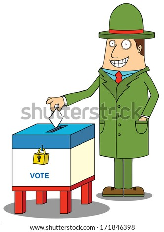 man with hat voting - stock vector