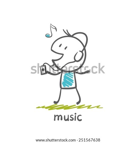 man with headphones listening to music player and illustration - stock vector