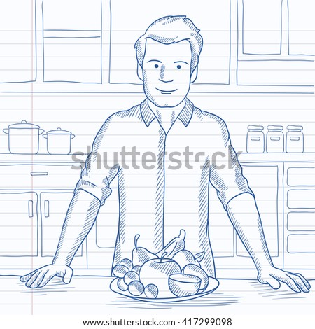 Man with healthy food. - stock vector