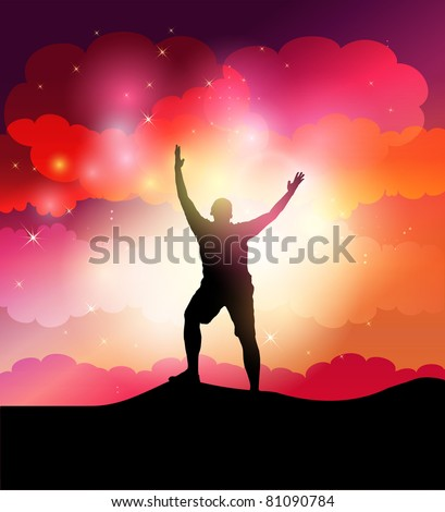 Man with his arms spread looks to the sky - stock vector