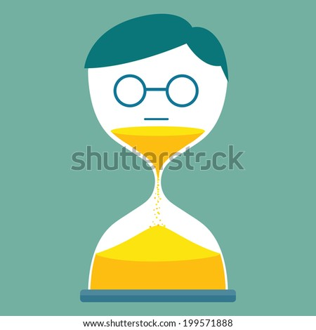 Man with hourglass - stock vector