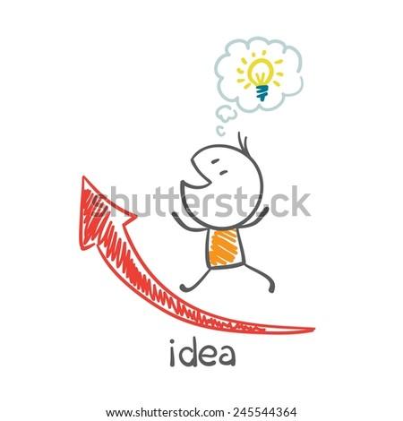 man with idea-bulb runs on schedule illustration - stock vector